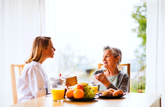 a caregiver woman and an elderly woman