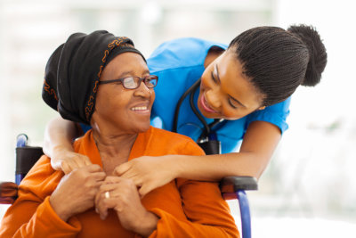 African senior patient nurse